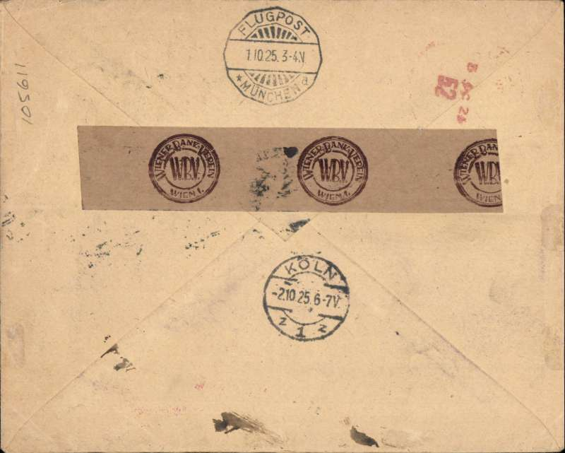 (Austria) Early airmail Vienna to London, bs London registered hooded 3 Oct 25 receiver, via Munich/Flugpost/1.10.25 scalloped transit ds and Koln 2.10. 25 transit cds, registered (label) printed Weiner Bank-Verien cover franked 96g, good strike red framed 'Flugpostampt Munchen 2 receiver,
