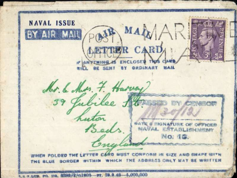 (World War II ) Scarce 'NAVAL ISSUE' air letter from RN barracks, Colombo, Ceylon to England, franked 3d canc 'PO Maritime/Mail, blue boxed censor hs signed by censor.