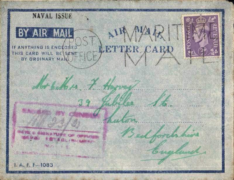 (World War II ) Scarce 'NAVAL ISSUE' air letter from RN barracks, Colombo, Ceylon to England, franked 3d canc 'PO Maritime/Mail, red boxed censor hs signed by censor.