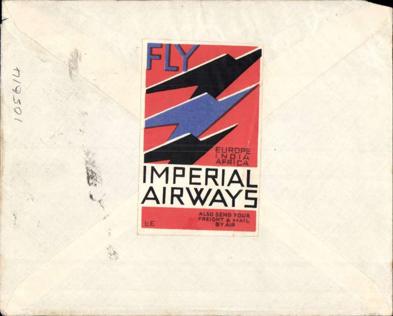 (Interruptions and Accidents) Iraq to England delayed flight, blue/grey printed 'Air Mail/Baghdad-London' air cover, franked 23fls tied by scarce Baghdad Cantonment cds.  Departed one day late from Baghdad 10/8 due to change of aircraft at Kuwait (reason unknown, see Wingent p121) on IMPERIAL AIRWAYS WESTBOUND SERVICE IW279 arriving Alex 11/8 on Satyrus, Brindisi 11/8 on Scipio, and Croydon 13/8 on Heracles. Fine large red/white/blue 'Europe, India,Africa' vignette verso, see scan.