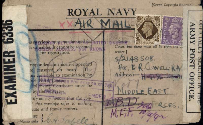 (World War II ) Royal Navy printed 'honour' air letter ms 'Air Mail, posted from a Royal Marine, Royal Marine Auxiliary Battalion' Lyness naval camp on Hoy, Orkney to army colleague MEF Forces, franked GB 1/3d, returned address unknown hs,  verso boxed Infantry /20 Nov 1942/Base Depot hs, FPO 12 No 42 dr cds and purple circular Army/Post Office hs tying Bermuda OBE 6336 censor tape, and also sealed with 'Officially Sealed in the Army Post Office' tape. See scan.