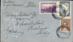 (Argentina) 10th Anniversary South Atlantic crossing, Argentina to Berlin, red boxed cachet, undated company receiver verso, company cover, Air France. Closed non invasive edge tears close to cachet, see scan/