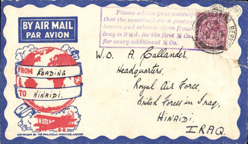 (GB External) Airmail GB to Iraq, Reading to Hinaidi, red/white/blue Philatelic Magazine cover franked 6d, front and verso fine strike uncommon violet framed 'Please advise your correspondents that the combined air and postage fee etc ......................................................', see scan. Non invasive closed tear rh edge, see scan.