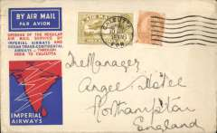 (India) F/F Calcutta to London flown IW 223, the first westbound service after extension of route from Karachi to Calcutta (see Wingent), black boxed Calcutta-Karachi cachet (verso), official three colour souvenir map cover,  India Trans-Continental Airways/Imperial Airways, closed non invasie rh edge tear, see scan.non small mail.