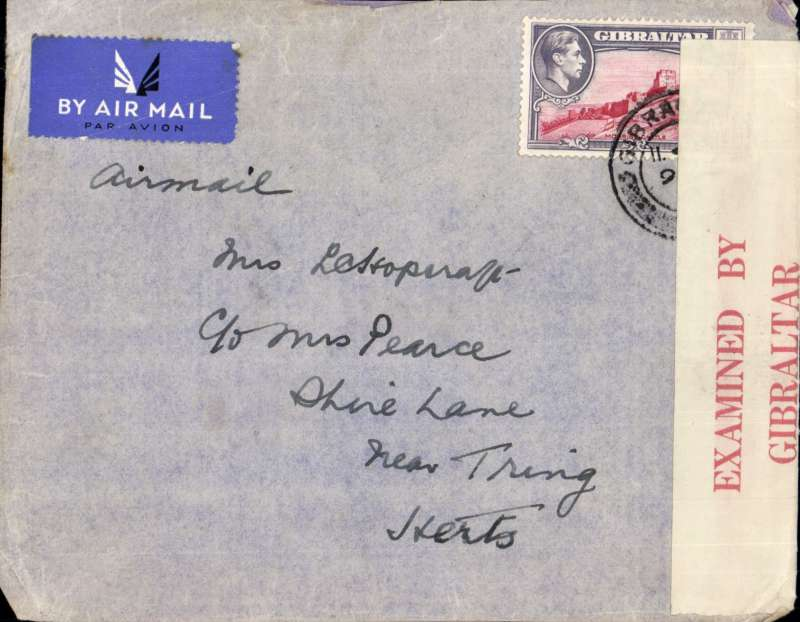 (World War II) Censored airmail Gibraltar to England, correctly rated 6d, sealed Gibraltar red/cream 'E B Gibraltar/Posta Censor 4'.