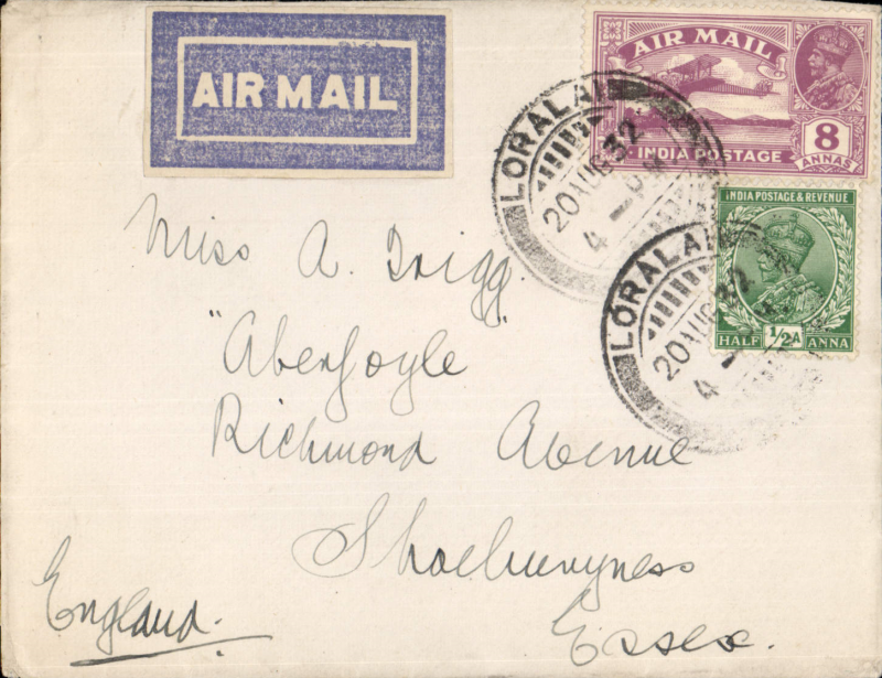 (India) India to GB, LORALAH to SHOEBURYNESS, airmail carried on IAW service IW 177, departed Karachi 24/8 on Hadrian, departed Galilee 27/8 on Scipio, arrived London 30/8 on Heracles. plain airmail etiquette cover franked 8 1/2 annas canc fine strike Loralah cds. Very scarce origin. Non airmail inward covers exist , but this is the first  outward airmail we have ever seen.