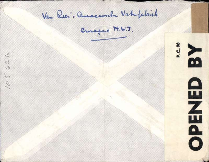 (Netherlands Antilles ) World War II double censored airmail cover, Curacao to London, imprint etiquette cover franked 165c, black two line 'Par Avion Jusqua ECU/ Airmail to USA', ms 'Airmail to New York, sealed PC90 OBE 5163 Bermuda censor tape overlying plain brown US censor tape.