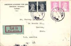 (Turkey) WWII uncensored airmail etiquette cover, Galata to Boston, USA, franked 68ks canc Galata cds, verso Istanbul 7/2 and Zemum 10/2 transit ds's.