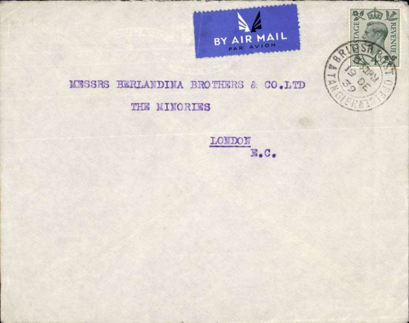 (Tangier) Early WW II uncensored censored airmail etiquette cover, Tangier to London, franked KG VIT 4d, canc 'British Post Office/16 De 39/Tangier.el Aviv,