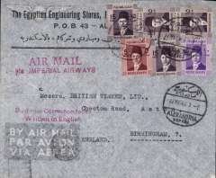 """(Egypt) Early World War II censored commercial air cover to England, no arrival ds, via Cairo, franked 75mls canc Alexandria cds, red two line """"Air Mail Via Imperial Airways"""" and """"Business Correspondance/Written in English"""" hs's, and black DR """"M"""" nominal Egyptian censorship."""
