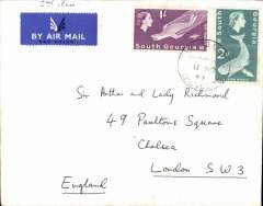 (South Georgia) South Georgia to London, airmail etiquette cover franked South Georgia 1/- & 2d stamps, canc Falklands Islands Dependencies cds. Uncommon origin.