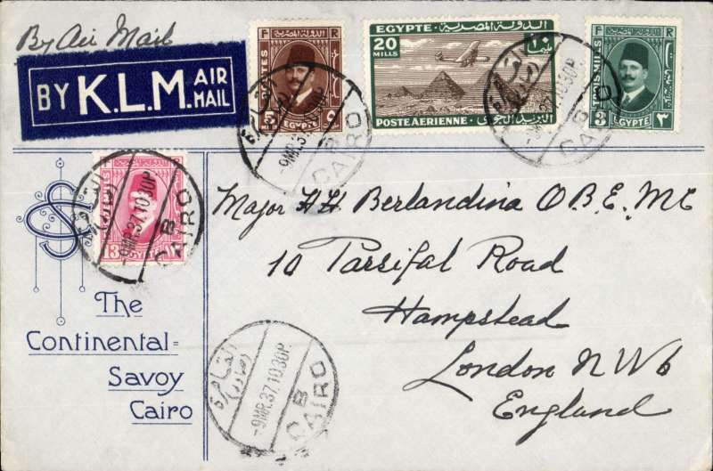 (Egypt) Airmail Cairo to London, attractive printed 'The Continental Savoy Cairo' hotel envelope franked 28mls, ms 'By Air Mail', with fine blue/white 'By K.L.M. air mail' (in English) etiquette tied by bilingual Cairo cds. Very fine.