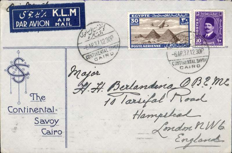 (Egypt) Scarce airmail Cairo to London, attractive printed 'The Continental Savoy Cairo' hotel envelope franked 40mls, canc 'Continental Savoy/Cairo' cds,  ms 'By Air Mail', covered by tied blue/white 'By K.L.M. air mail' (in Arabic and English) etiquette. Nice item.