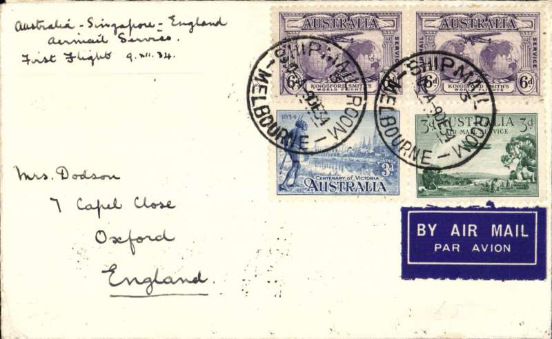 (Australia) F/F Melbourne to London, no arrival ds, Ship Mail Room cancel, carried on the first regular service, Australia to England, airmail etiquette cover franked 1/6d inc Kingsford Smith 6d x2. Attractive greetings vignette verso.