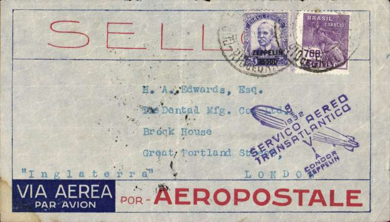 (Airship) Brazil, Recife to Friedrichshafen, bs 19/10, Aeropostale company cover, minor lower lh corner stain (see scan), franked 3700R fine strike blue flight confirmation hs.