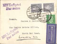 (Germany) Attractive DLH/KLM airmail Berlin to London franked 45pg canc Berlin/Charlottenburg cds,fine strikes 'Mit Luftpost/Par AvioN' hs's front and verso.