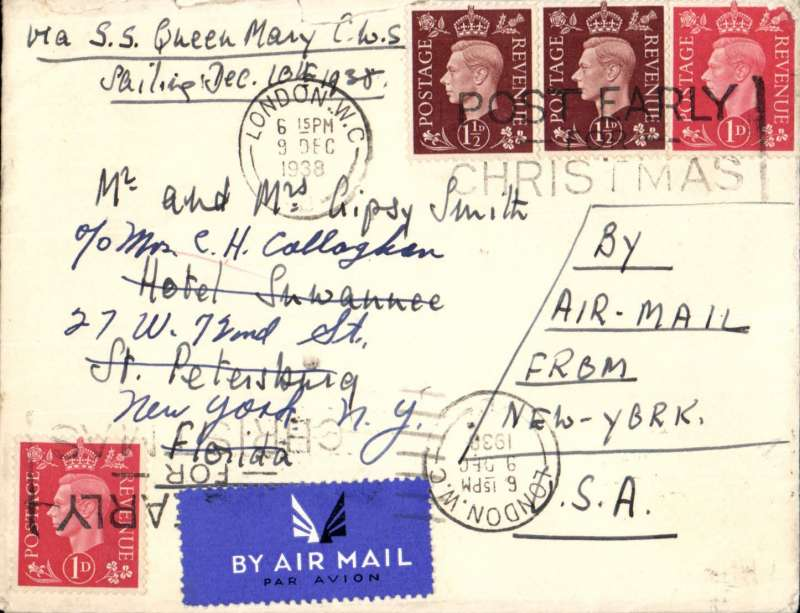(GB External) London to St Petersburg, Florida, bs 12/12,  carried by SS QUEEN MARY  to New York, then US internal air service to Florida, plain cover franked 5d, ms 'By Air Mail from New York', tied airmail etiquette, see scan.