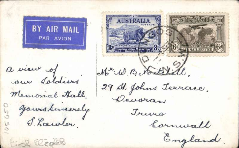 (Scarce and Unusual Routings) F/F Australia to England, Dungog to Truro, non philatelic PPC showing Soldiers' Memorial Hall, Dungog, franked SG151 and 139 (cat £24 used), airmail etiquette. Dungog is a country town in NSW, pop 2000.