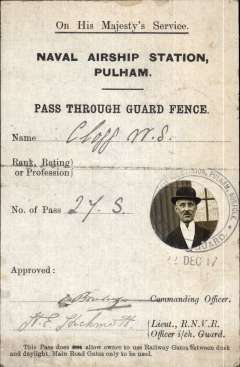 (Airship) OHMS, Naval Airship  Station, Pulham, England, 'Pass Through Guard Fence' permit, with official stamped head and shoulders photo of holder, and signed by C/O, 10x15cm, see scan.