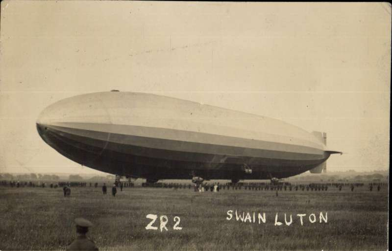 (Airship) Airship R38 (US ZR2) on the ground at Pullham, Norfolk c1921, Original sepia PPC, see scan.