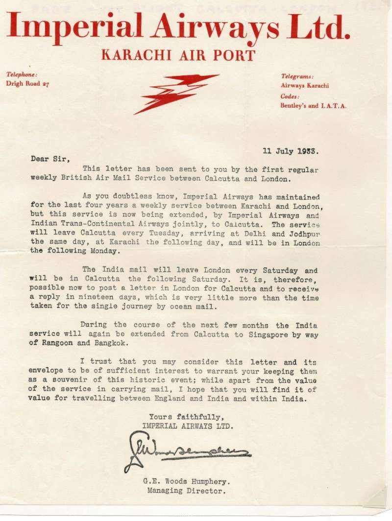 (India) Imperial Airways, Karachi Airport, a letter written on red on cream headed company notepaper, signed by the Managing Manager and dated 11 July, 1933, sent on the first regular Calcutta-London service as a souvenir of its inauguration. Fine condition, see image.