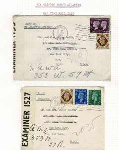 (World War II) GB to New York, two WWII censored covers, both correctly rated 1/3d and typed 'Atlantic Clipper', and sealed with Bermuda censor tape, #'s 1527 and 1153. See scan