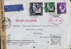 """(World War II) Horseshoe Route World War II censored air cover to Manchester, no arrival ds, franked 1G 75c canc Batavia cds, typed 'Per Luchtposts Via Durban', sealed brown """"Door Censur Geopend"""" NEI censor tape tied by black circle """"Censur  20/6/41""""censor mark, also fine strike red  oval 'Ec.C' NEI censor mark and Egypt black censor hs Likely KLM to Cairo then BOAC over the """"Horseshoe"""" route, see Boyle p 820-828. Non invasive ironed vertical crease and little rough opening verso, does not detract, see scan."""