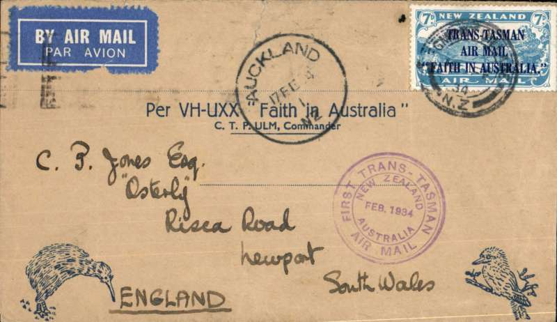 "(New Zealand) CP Ulm, first official mail, New Zealand to Australia, bs Sydney 17/2, franked 7d ""Trans Tasman"" opt, special cachet, official blue'buff Kiwi/Kookaburra souvenir cover."