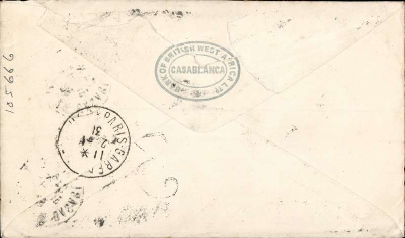 (Morocco) Flown cover, Casablanca to London, via Paris 2/1/31, franked 3x 1F90 airs, canc Casablanca cds, postage underpaid with 'T' in triangle and ms '0.28' charge mark and London '3d /FB.' handstamp. Uncommon.Some rough opening verso, see scan. Nice item.