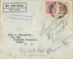 (Tanganyika) Wilson Airways, Dar es Salaam to Tanga, bs 22/11, airmail cover franked 35c, violet framed 'Feeder Service, bearing six signatures including three well known Wilson Airways pilots, WM Bawden, AN Francombe and A Noon, also ? CF Morris, FD Winglet and C Swynnerton the world famous tsetse fly scientist  who died in a de Havilland Leopard Moth plane crash four years later on 8 June 1938. Accompanying this cover is a newspaper cutting reporting the accident and that WM Bawden, the pilot was also killed. Exlaining six signatures on an apparently routine internal air cover flown four years earlier, including those of three well known  pilots and a world famous scientist who all worked in Tanganyika, will not only be an exciting challenge but one which, if successful, will likely add significant value to this unusual item.