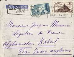 (Scarce and Unusual Routings) France to Afghanistan, PARIS to KABUL, bs 8/5, carried on Air France Far East service weekly service to Karachi , 'Cancelled 'hs 2/5, via Marseille-Gare 27/4, and on by surface to Kabul b/s 5/5 via PESHAWAR b/s 4/5. Franked 6F50 for F1.50 UPU and F5 air fee.