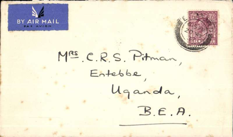 (Interruptions and Accidents) GB to Uganda, LONDON to ENTEBBE, Imperial Airways 'Castor' collided with the yacht 'Neptune' 22/5 while taxiing from her mooring. Mail transferred to 'Cygnus' and carried on Imperial Airways Africa southbound service AS 450 to Alexandria where transferred to 'Courtier to Entebbe b/s 27/5. This was the 1,000th Empire service, and the first southbound service by both 'Cygnus' and 'Courtier'. Plain cover franked 6d. Interesting item. Few tiny tone spots, see scan.