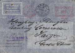 (Scarce and Unusual Routings) Switzerland to Indochina, BERN to SAIGON, carried on Air France Far East service weekly service which left Naples on 26/8 arriving Saigon bs 1/10. Carried by rail from Switzerland to Naples via Chiasso, ms 'Chiasso', Printed trilingual corner airmail etiquette cover franked F1 metre mark for 30c UPU plus 70c air fee,