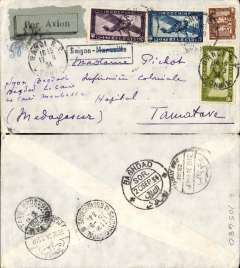 (French Indochina) Indochina to Madagascar, SAIGON TO TAMATAVE, left Bangkok 15/9, carried on Air France Far East service weekly service to Baghdad b/s 20/9 where it was transferred to the Imperial Airways westbound service IW 285 and carried on 'Hanno'  to Cairo b/s 22/9. Sent by road/rail to Port Said b/s 22/9 and then on by sea to the port city of Tamatave bs 22/10. The official sea freight transit time is 21-25 days (would usually have been flown on to Broken Hill, then by Reggie Malgache toTananarive). Plain cover, black framed 'Saigon-(ms)Tamative' Jusqu'a, franked 83c for 6c Colonial and 77c air fee.$1.38. Nice item, good routing, and an interesting exception to the general rule, so good for the exhibit.  Ex Proud.