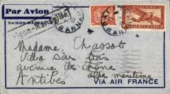(French Indochina) Indochina to France, SAIGON TO ALPES MARITIME, left Bangkok 8/6, carried on Air France Far East service weekly service to Marseille Gare b/s 16/16 via Calcutta, Baghdad and Athens, arriving Antibes b/s 17/5.Grey/blue frame 'Saigon-Marseille/Via Air France' cover , black framed Saigon-Marseille cachet, franked 36c for 6c Colonial and 30c air fare.