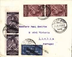 (Egypt) Egypt to Portugal carried by Imperial Airways Africa southbound service DN33 carried by 'Cygnus'  which left Alexandria 26/10 arriving Marseille 27/10, and on DLH (new service 2 weeks earlier) to Lisbon, b/s 28/10. Plain cover flight annulled at Marseille with black double line Jusqu'a, franked 40mils for 20mils UPU and 20mils air fee.