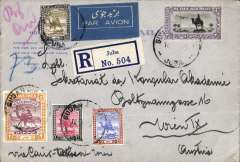 (Sudan) Sudan to Austia, JUBA to VIENNA, carried on Imperial Airways Africa northbound service AN 459 by Hadrian to Alexandria 22/5,  by Satyrus to Athens, bs 23/5, and on by rail (20 hours) to Vienna bs 24/5.