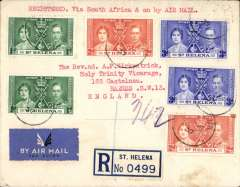 (Scarce and Unusual Routings) RARE pre WWII airmail, St Helena to England, via South Africa, carried all the way by Cassiopia from Durban to Southampton 3/7 on Imperial Airways Africa northbound service AN 459, oval registered Barnes 5/7 arrival ds, registered (label) cover franked 1/- for 2d Imperial, 3d registration, 6d air fee, and 1d excess?. This service carried the last surcharged mail from East Africa, N&S Rhodesia and Nyasaland, before introduction of Empire Airmail Scheme, see Wingent p123. Super item in fine condition, see scan.