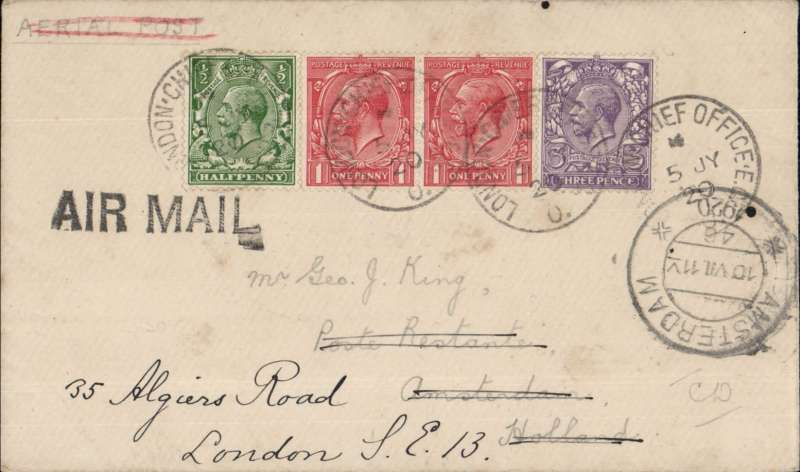 (GB External) Handley Page, first flight London to Amsterdam, b/s 6/7, envelope with KG V franking to pay 3d air fee plus 2 1/2d postage, all tied by London Chief Office 5 JY 20 cachets. Service suspended 30/10, ref 20.19 Newall. Fine and rare, cat 600u Newall.