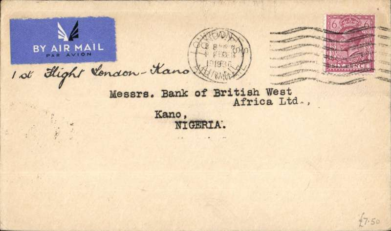 "(GB External) F/F New Khartoum to Kano sevice, London to Kano b/s 16/2, typed endorsement ""Via Khartoum"",etiquette cover frankd 6d, Imperial Airways"