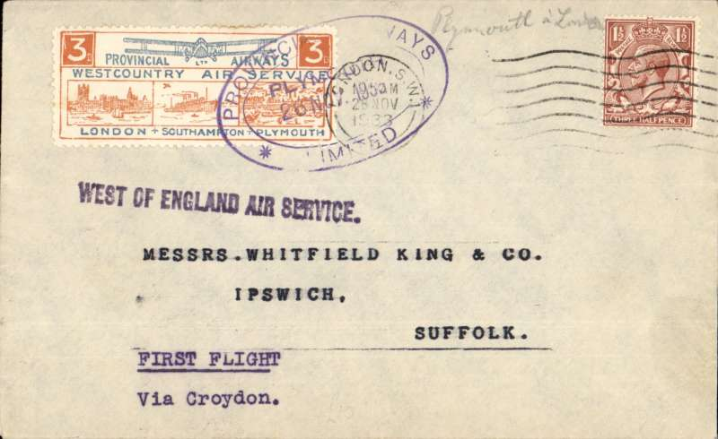 "(GB Internal) Inauguration of the third GB Internal Airmail Service, ""West Country Air Service, Plymouth to London, 3d bi-coloured vignette tied by Plymouth depart cachet, violet st line ""West of England"" hs, London arrival cds, West Country Air Service cachet, plain cover, Provincial Airways Ltd, 750 flown, service operated for six days only"