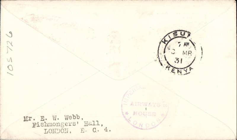 (GB External) Imperial Airways F/F London to Kisumu, bs 10/3, flown on inaugural England-East Africa service, blue/white souvenir 'Map' cover, correctly rated 7d, canc London FS Feb 27.