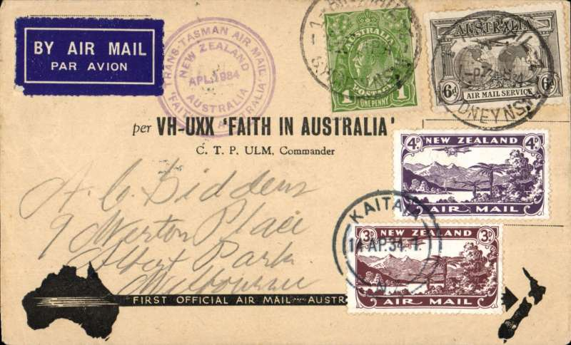 """(Australia) """"Faith in Australia"""", first official airmail Australia-New Zealand, bs Auckland 12/4, correctly franked 7d, canc Sydney cds, violet winged """"First Official Air Mail"""" Australia-No cachet, special black/grey Arrow cover, Eus 369."""