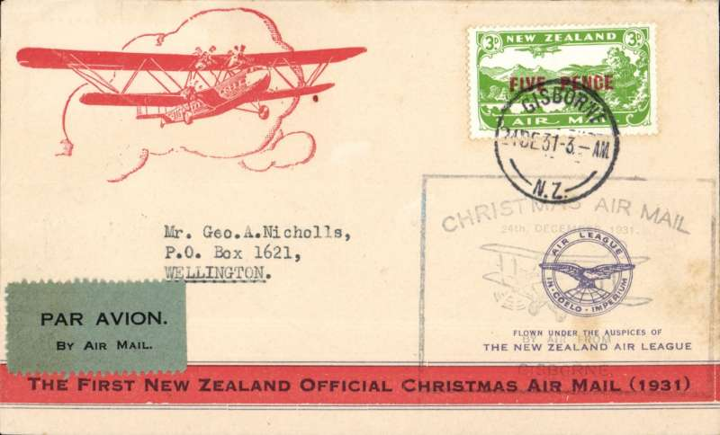 (New Zealand) NZ Air League, First New Zealand Official Christmas Air Mail, Gisborne to Wellington franked 5d air stamp, printed orange/cream souvenir air cover,