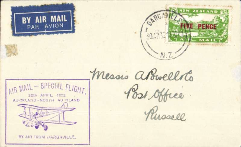 (New Zealand) Dargaville to Russell, 5d air stamp, cachet, b/s, Air Travel Ltd