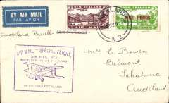 (New Zealand) Auckland to Russell, 3d + 3d air stamp, cachet, b/s, Air Travel Ltd,