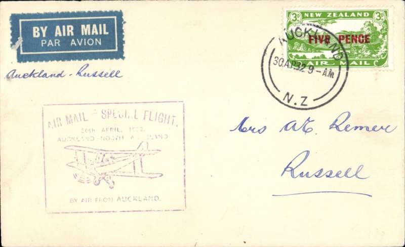 (New Zealand) Auckland-North Auckland Survey Flight, Auckland to Russell, bs 30/4, airmail etiquette cover franked 3d air, violet boxed flight cachet , NZAMS Expert Committee expertisation hs verso.