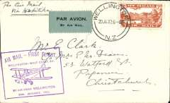 (New Zealand) West Coast (South Island) survey flight, Welligton to Hokitika, 5d air stamp, cachet, b/s, Air Travel Ltd,