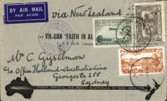 "(Australia) ""Faith in Australia"", first official airmail Australia-New Zealand, bs Auckland 12/4, correctly franked 7d, canc Sydney cds, violet winged ""First Official Air Mail"" Australia-No cachet, special black/grey Arrow cover, Eus 369."