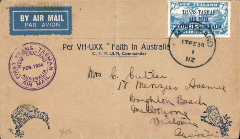 "(New Zealand) First official mail, New Zealand to Australia, Sydney 7/2 arrival ds on front, official Kiwi cover franked 7d ""Trans Tasman"" opt canc Auckland 17 Feb 34 cds, special purple cachet."